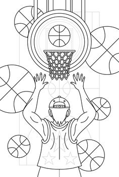 バスケットボール女子男子線画1