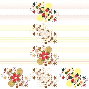 ワンポイントカットイラストデザイン装飾素材「イチゴとクッキーと星」3種類セット