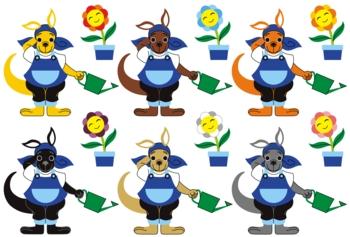 お花に水をやるカンガルーのキャラクター6色パターン