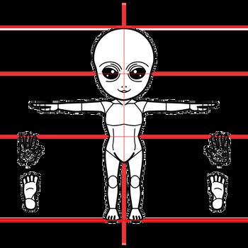 グレイ型宇宙人三面図完成1