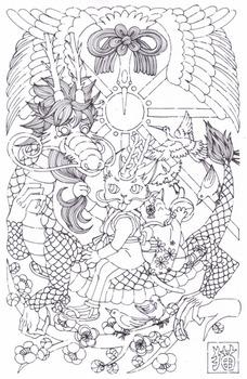 年賀イラスト猫と龍