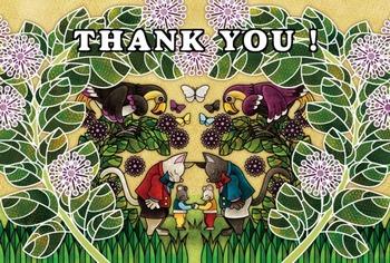 サンキューカード(Thank You Card)イラストはがきサイズ