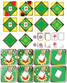 麻雀牌(ハク・チュン・イーピン)と麻雀卓イラストロゴアイコン
