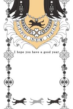 2014年午年完成年賀状テンプレート(シルバーアクセサリー)HAPPYNEWYEAR!