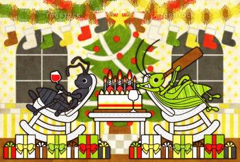 【クリスマスカード】アリとキリギリスのクリスマスホリデー