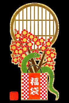 2013年巳年年賀状用フリー素材福袋と梅と蛇