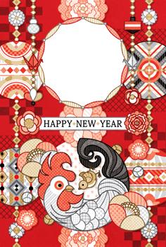 2017年酉年完成年賀状テンプレート「まんまるまるまり写真フレーム」HAPPY_NEW_YEAR