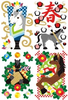 2014年午年年賀状用イラスト素材(羽子板・筆文字・椿と絵馬と破魔矢・鶯と馬)4種類セット