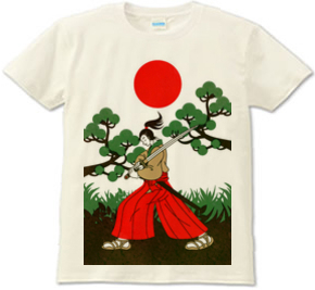 侍と刀と松と日の丸(Samurai sword and pine and Japanese flag)Tシャツ