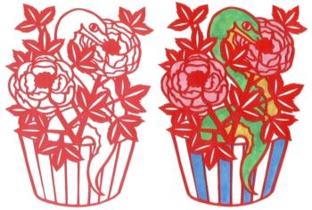 2013年巳年年賀状用イラスト素材(切り絵蛇の花)