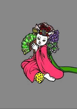 0080京都の舞妓猫e扇子に陰影