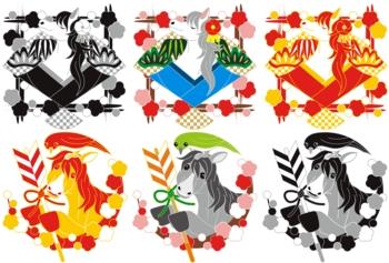 2014年午年年賀状用イラスト素材(和風イラスト扇と馬・破魔矢と馬と鶯)2×3点セット