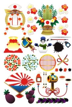 【1月】年賀状用イラストカット素材集(注連飾り・門松・打ち出の小槌・雪達磨・筆と墨汁・椿・茄子・扇)グラデーション
