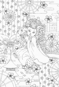 0080京都の舞妓猫a 最初の線画