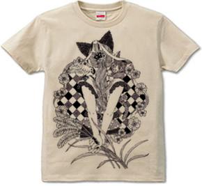 「ポニーテールと猫耳ペン画」T-shirt (半袖Tシャツ) \1,680- (Taxin \1,764- )