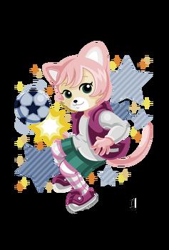 サッカー女子にゃっきい(しまじろうのわお!)主線なしアニメ塗り