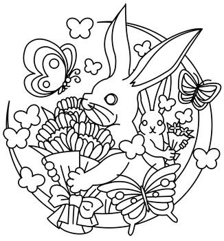 無料ぬりえ用線画(ウサギと花束)