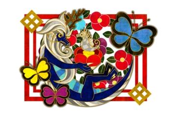 椿・蝶・龍&タツノオトシゴ(白地)(2012年辰年年賀状用イラスト素材)