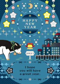 2021年丑年イラスト年賀状デザイン「願いを込める牛とキラキラ星夜空の牡牛座」HAPPY NEW YEAR