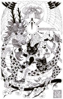 年賀イラスト猫と龍モノクロ