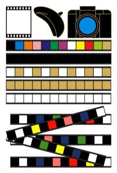 「カメラとネガフィルムとベレー帽」イラスト素材集