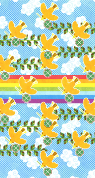 【壁紙】「RAINBOW&ORANGEBIRD(゚∈゚)」iPhone5/5s/5c用壁紙(iOS7用744×1392PNG)