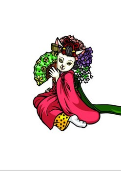 0080京都の舞妓猫f影1段階