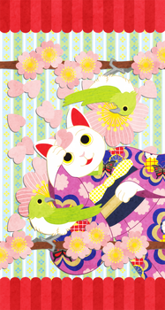 iPhonewallpaper,イラスト,デザイン,猫,かわいい,和風,春,桜,鶯,動物