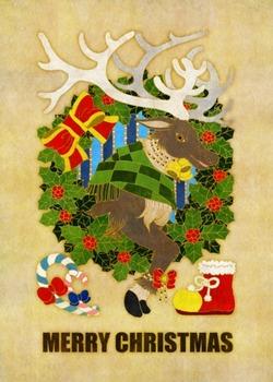 クリスマスカード用イラスト(トナカイとクリスマスリース)白茶地