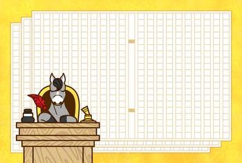 印刷用データポストカード・便せん・メモ用紙「原稿執筆中?馬キャラクター」はがきサイズ/600dpi/JPEG