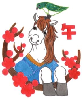 2014年午年年賀状用イラスト素材(白馬と鶯と梅)手描き