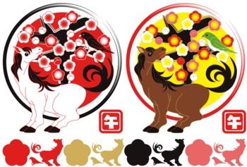 2014年午年年賀状用イラスト素材(見返り馬と梅に鶯)デジタル2点セット