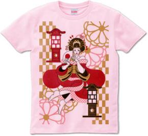花魁と行灯(Oiran and Andon)Tシャツ