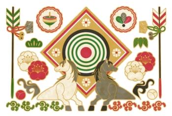 午年年賀状用イラスト素材「馬と破魔矢と的」