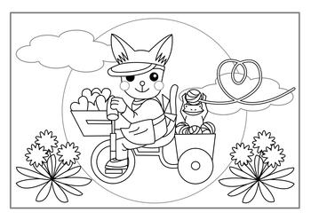 無料塗り絵用線画(三輪車猫)