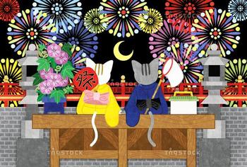 【夏】打ち上げ花火と猫のカップル