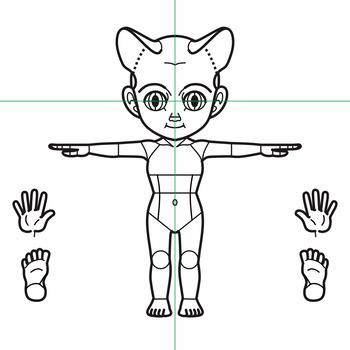基本型2.5頭身三面図3