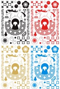 2014年午年年賀状用イラスト素材(蹄鉄と富士山)デジタル4点セット
