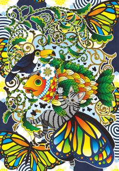 植物魚と猫蝶とオニオオハシ主線黒