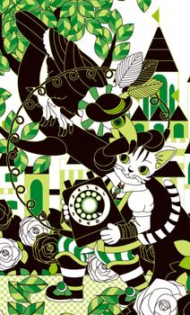 猫とオニオオハシと電話同系色テストイラスト