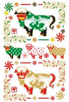 2014年午年年賀状用イラスト素材(馬の獅子舞)