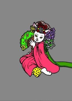 0080京都の舞妓猫d背景分別