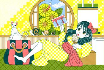 【サマーカード】サマーカードテンプレート(和風少女と猫)暑中見舞い/残暑見舞い/引越し挨拶状/転居通知等