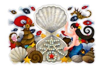 人魚と春(白地)(2012年辰年年賀状用イラスト素材)