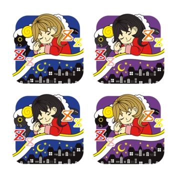 夜眠る少女と黒羊枕夜景布団アイコン4パターン