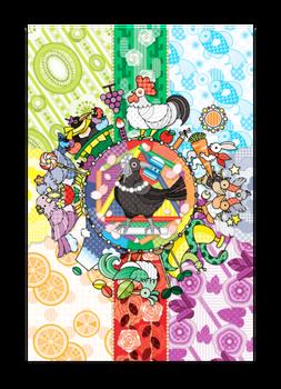 カラフル色相環グラデーションと白黒カラスポストカード