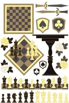 「チェスピースチェスボードチェスセット」イラスト素材集
