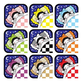 夜布団で眠る女の子とウサギと猫アイコン9色セット