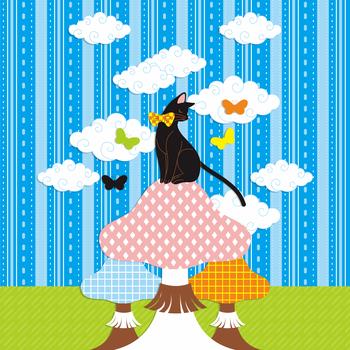 「猫とキノコと蝶」iPad用壁紙(Retinaディスプレイ対応2048×2048PNG)