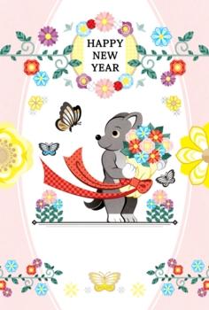 2018年2030年戌年完成年賀状テンプレート「犬と花束と蝶」HAPPYNEWYEAR